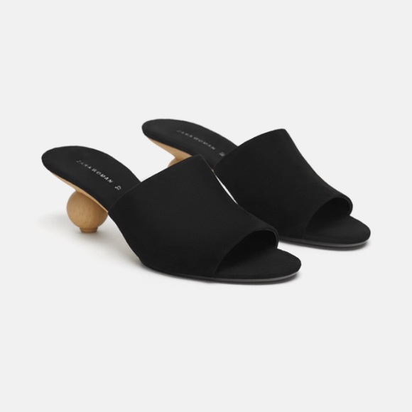 4a70fd6563f Zara black round heeled leather mules